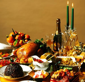 Christmas dinner table with food