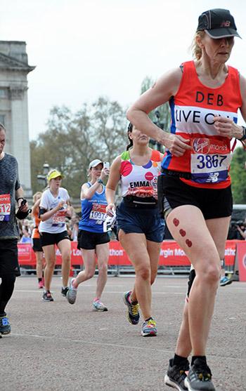 Client Debra running the Marathon