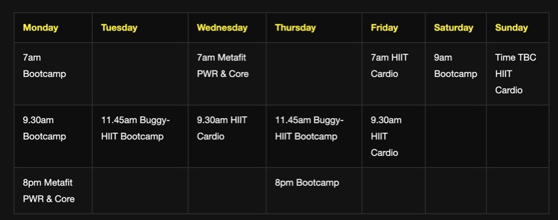 Bootcamp timetable